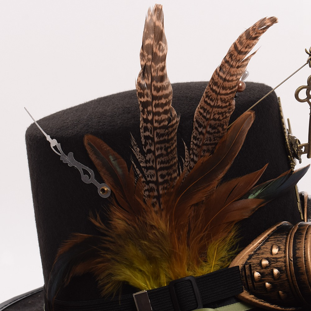 Image 2 - Ladies Black Feather Women Fedoras Steampunk Gears Men Top Hat With Googles-in Men's Fedoras from Apparel Accessories on AliExpress