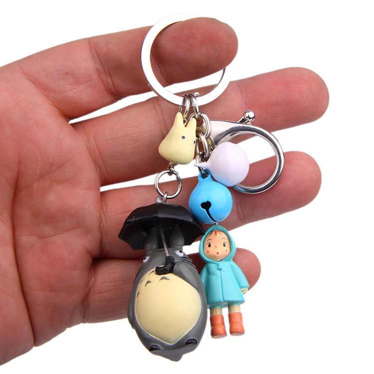 Guarda-chuva Totoro Chibi Mei Boneca Simples Moderno Dos Desenhos Animados Animação Figura de Ação Sino Saco Bolsa Titular Do Anel Chave Chaveiro Mascote