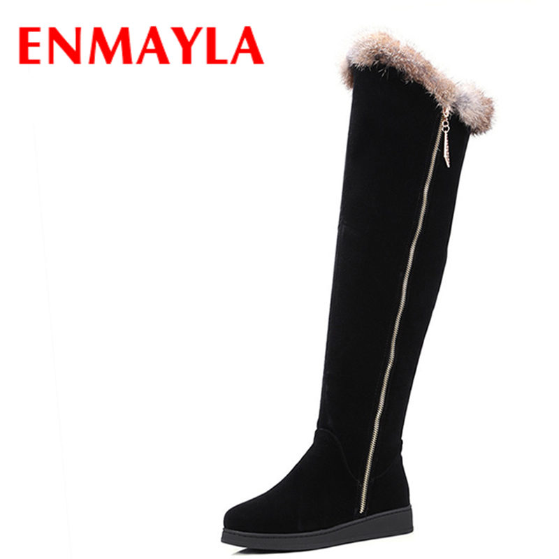 ENMAYLA Winter Warm Long Boots Shoes Woman Round Toe Zippers Over-the-knee Boots for Women Large Size 34-43 Black Western Boots enmayla ankle boots for women low heels autumn and winter boots shoes woman large size 34 43 round toe motorcycle boots