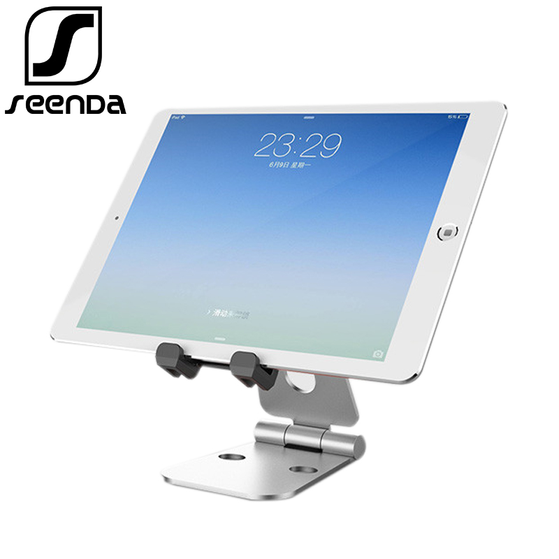 цена на SeenDa Mobile Phone Tablet Stand Desk Holder Tablet Stand Double-Folded Metal Aluminum Multi-Angle Adjustment Portable Stand