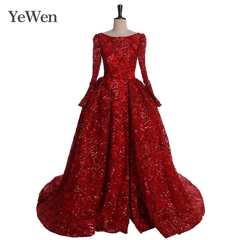Robe de Soiree Longue Elegante Wein Rot Prom Kleid Lange Pailletten Langen Ärmeln Abendkleider 2019 Vestido de Festa YeWen
