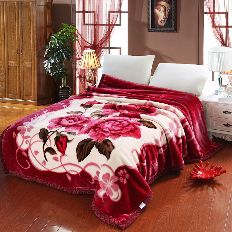 Winter Thick Classic Floral Red Flower Warm Double Layers Plush Faux Mink Flannel Raschel Fur Blanket Throw Twin/Full/Queen Size thick warm double layer flannel plus sherpa man made lamb fur blanket 145x195cm