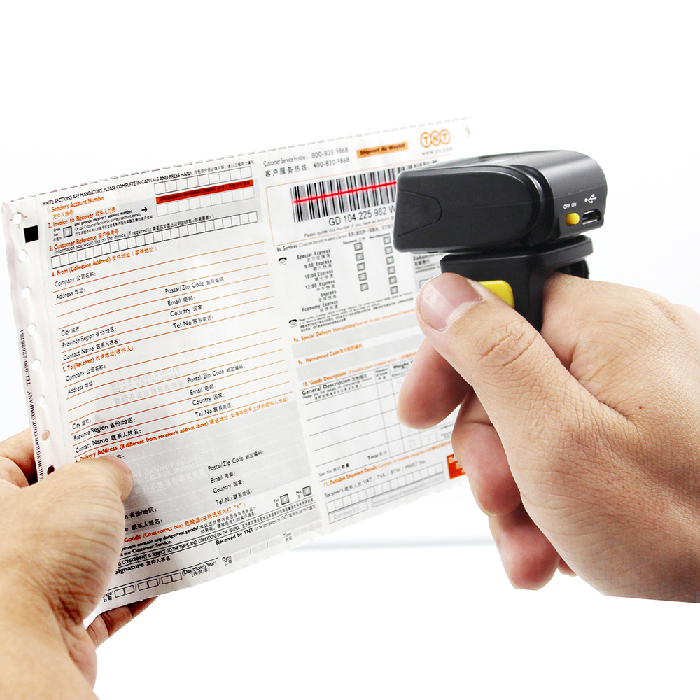 Symcode Scanner Ring Code-Reader Laser Mini Bleutooth Wireless-Bar 1D with 16M Storage-Space