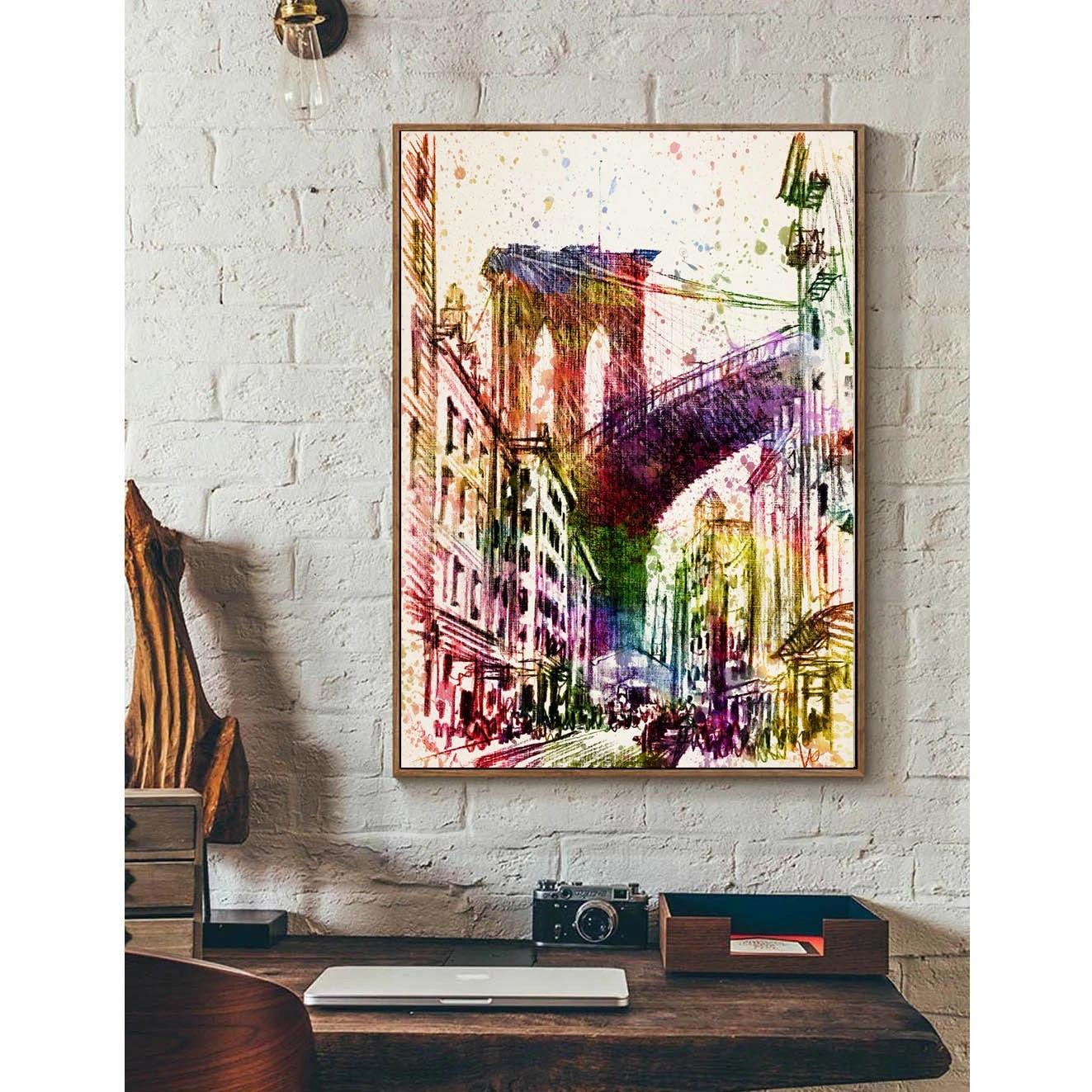 New York Brooklyn Bridge Minimalismus Kunst Leinwand Plakat Druck Stadtbild Bild Fur Moderne Home Office Wanddekor Geschenk Fa106 Brooklyn Bridge Art Canvasposter Print Aliexpress