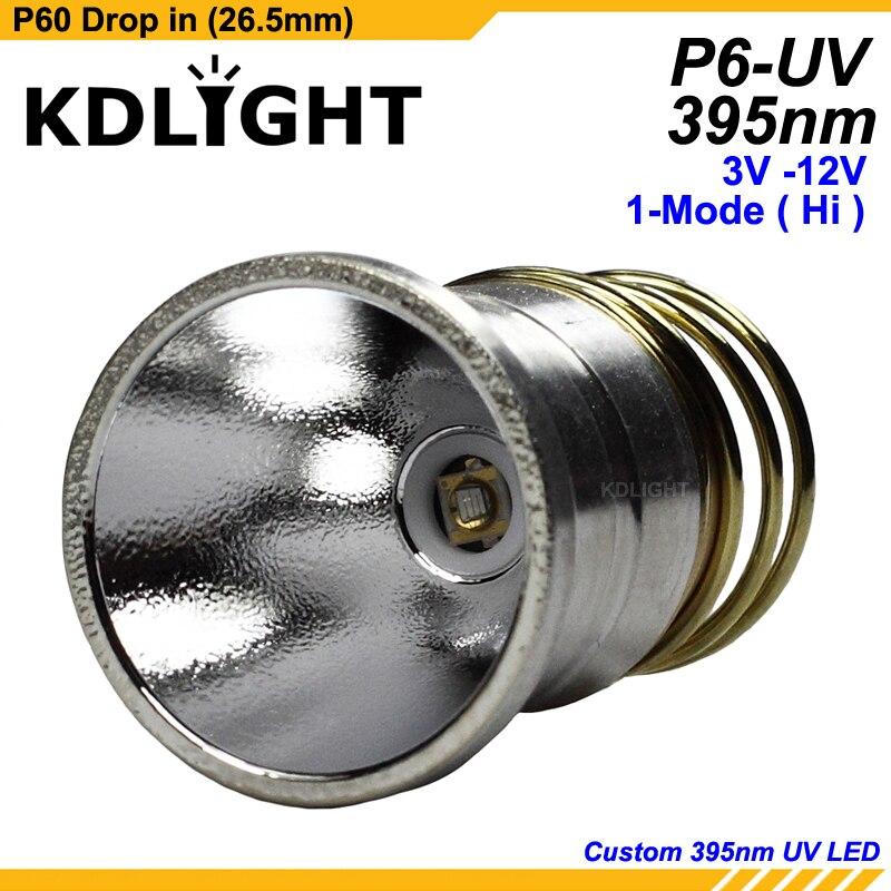 KDLITKER P6-UV UV365nm UV395nm 3V - 12V 1-Mode UV P60 Drop-in (Dia. 26.5mm)