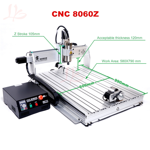 US $1615 0 37% OFF|3D printer mini cnc milling machine 8060 2200W USB wood  router with limit switch-in Wood Routers from Tools on Aliexpress com |