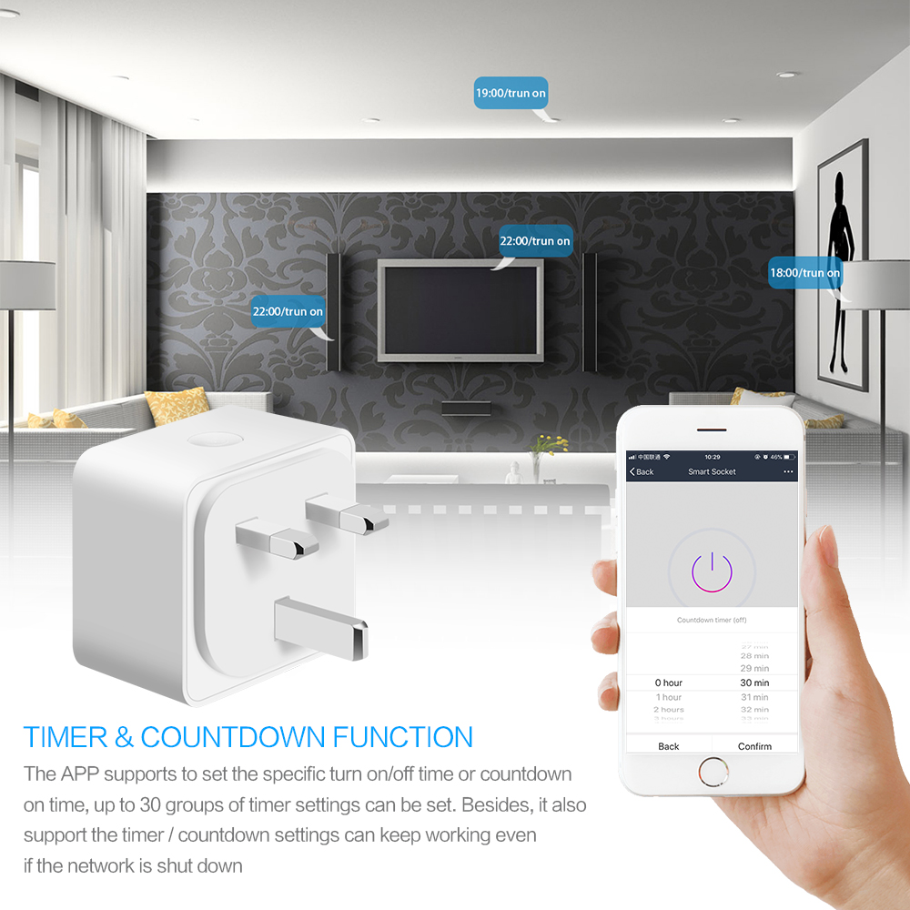 FORNORM Mini smart socket outlet compatible with Alexa Google Home IFTTT 10A 2300W Wifi socket switch for Android iOS smartphone