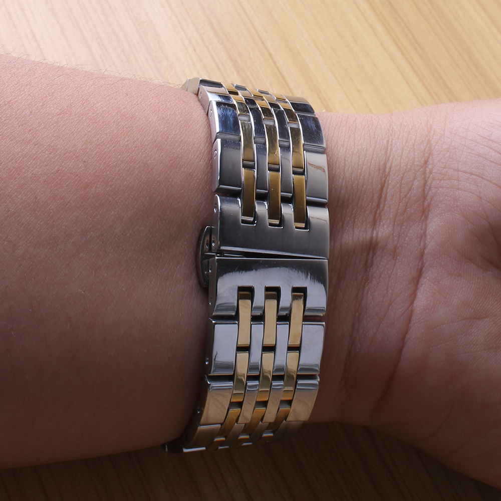 Watchband polished metal 18mm 19mm 20mm 21mm new Heavy silver gold mixed Stainless Steel Watchband Strap Bracelets Promotion hot