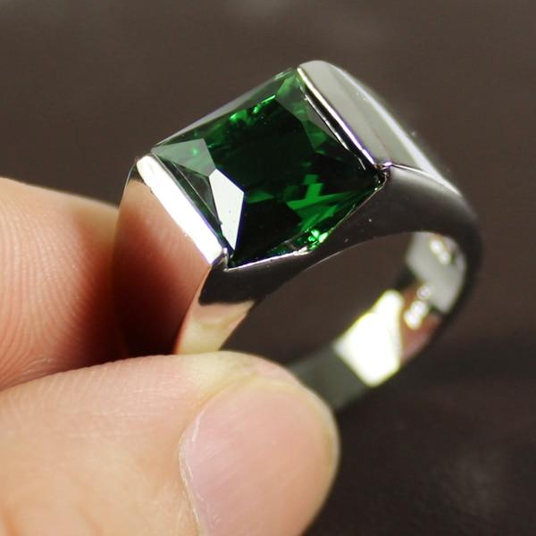 MMDGEM Mens 925 Silver Sqaure Green Stone Zirconia
