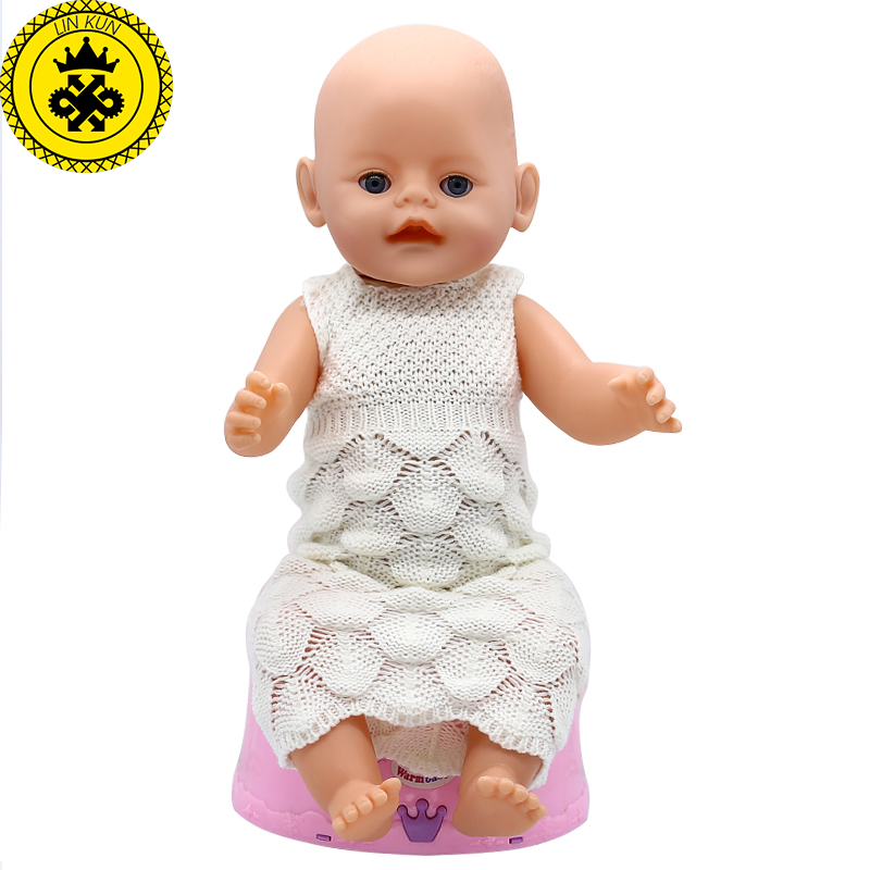 Baby Born Doll Clothes Woolen Hand-woven Sleeveless Long Dress Fit 43cm Zapf Baby Born Doll 16-18 inch Doll Accessories 333 baby born doll clothes bat patch skirt dress fit 43cm baby born zapf or 17inch baby born doll accessories high quality love 183