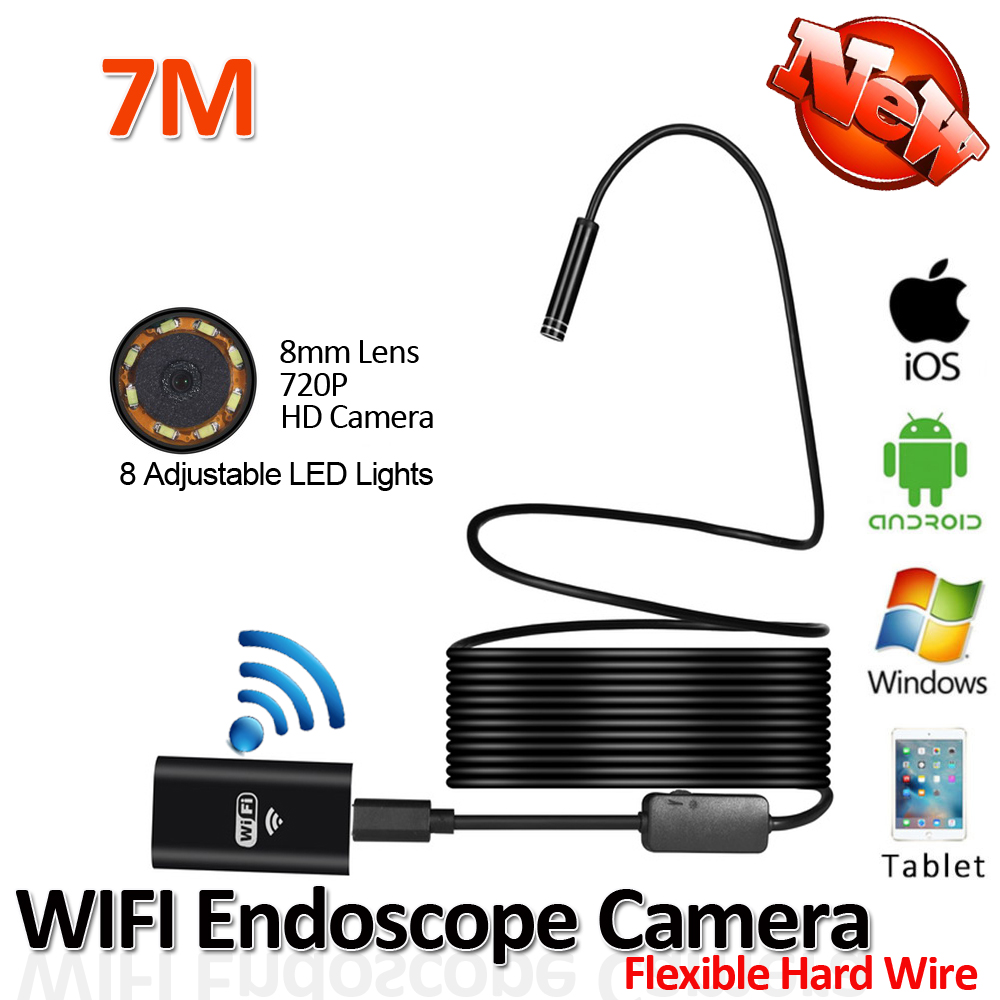 2017 New 8LED 7M Hard Flexible Snake USB WIFI Android IOS Iphone Endoscope Camera Iphone Borecope Pipe Inspection HD720P Camera 1m hard cable ios android wifi handheld endoscope 8mm lens 6 led waterproof iphone wifi endoscope camera snake inspection camera