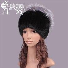 2016 winter hats for women russia genuine mink fur cap with silver fox fur top bulb fashion elegant beanies warm women's fur hat