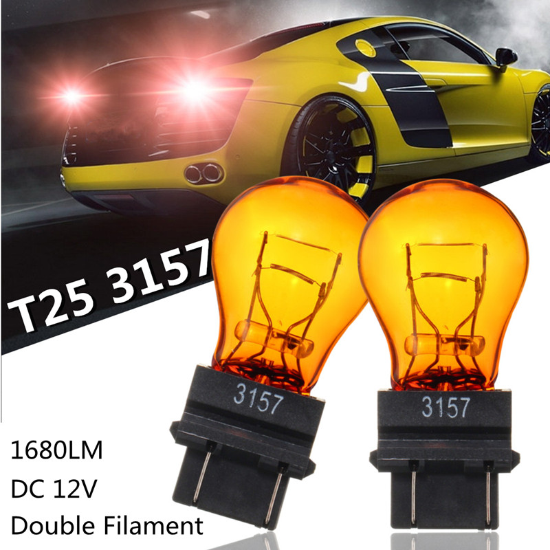 2pcs Car Halogen Bulb T25 3157 1680LM Natural Glass Double Filaments Stop Brake Lights Turn Signal Lamp car-styling DC 12V 1 x t25 3157 50w led car auto signal brake stop tail light bulb signal lamp white external lights