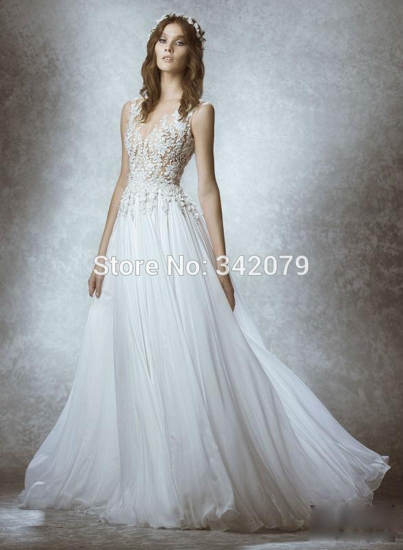 Ph15227 Cap Sleeve Appliques Lace Bridal Gown Vestidos De Noiva Zuhair Murad Wedding Dresses 2015 Sexy Backless