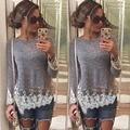 2015 новинка женщин футболки с длинными рукавами кружева лоскутное печать майка женщины топы тонкий свободного покроя женская одежда Большой размер горячая