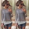 2015 nuevas mujeres camiseta de manga larga de encaje impresión del remiendo camiseta mujeres Tops delgada tapa ocasional ropa además tamaño caliente