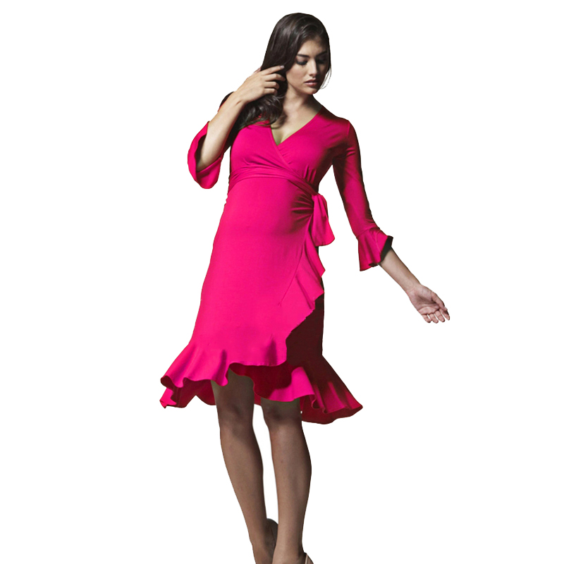 V décolleté Frill maternité Wrap robe pour les femmes enceintes 3/4 manches genou longueur volants robes de grossesse Draping fête Vestido