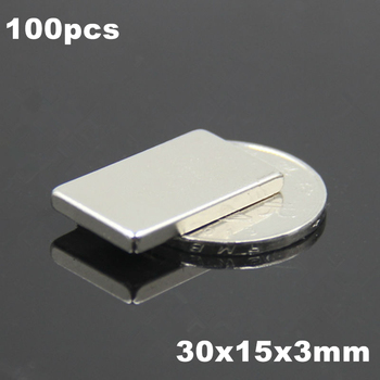 100pcs F30x15x3mm Super Powerful Strong Rare Earth Block NdFeB Magnet Neodymium N35 Magnets F30*15*3mm- Free Shipping