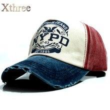Xthree wholsale marca cap chapéu ocasional cap gorras boné de beisebol cabido 5 painel de hip hop snapback chapéus cap para mulheres dos homens de lavagem unisex