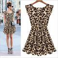 Новый Горячий Продажа Сексуальная Повседневная Женщины Leopard Печати Рукавов Оборками Vestidos Dress Девушки Сарафан