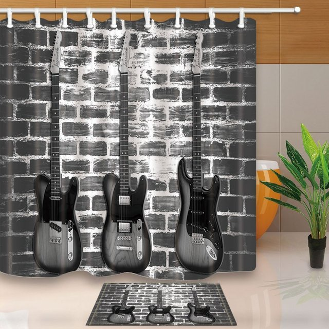 Music Decor Vintage Guitar On Brick Wall Waterproof Polyester Fabric Shower Curtain Set With Non Slip Floor Doormat Bath Rugs
