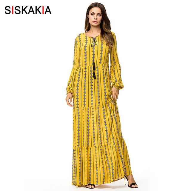 e5a60ded90b98 US $26.43 39% OFF|Siskakia Fashion Muslim Print long dress Autumn Fall 2018  Tall women Maxi dresses long sleeve swing dress Arab Qatar UAE Jubah-in ...