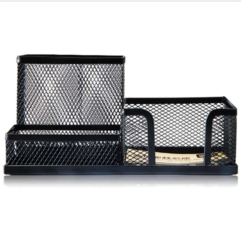 Deli 1PC Metal Multiple Shapes Black Container Multifunctional Pen Pencils Holder Stationery Storage Desk Organizer