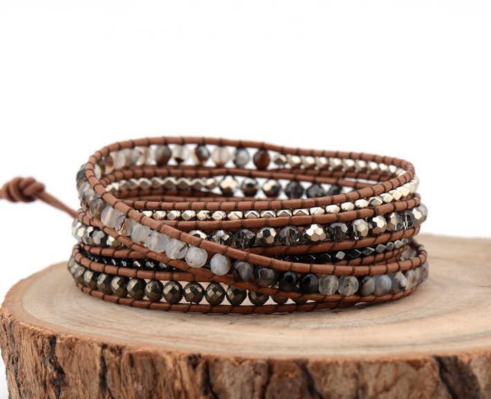 תמהיל מעודן טבעי אבנים כסף המטיט חרוזים 5 שכבות עור לעטוף צמידים רב שכבתי אריגת חרוזים צמיד