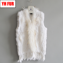 Fur Factory Sale Women Real Rabbit Fur Vests Knit Tassels 100 Real Genuine Rabbit Fur Gilet Real Raccoon Fur Collar Waistcoats cheap Raccoon Dog Fur Double-faced Fur Real Fur YH-FUR-061601 STANDARD REGULAR Knitted With Raccoon Dog Fur Collar Sleeveless