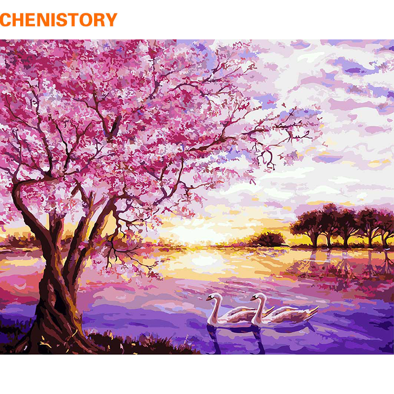 Chenistory viola romantico diy pittura by numbers moderna immagine casa wall art pittura a olio dipinta a mano per la decorazione di nozze