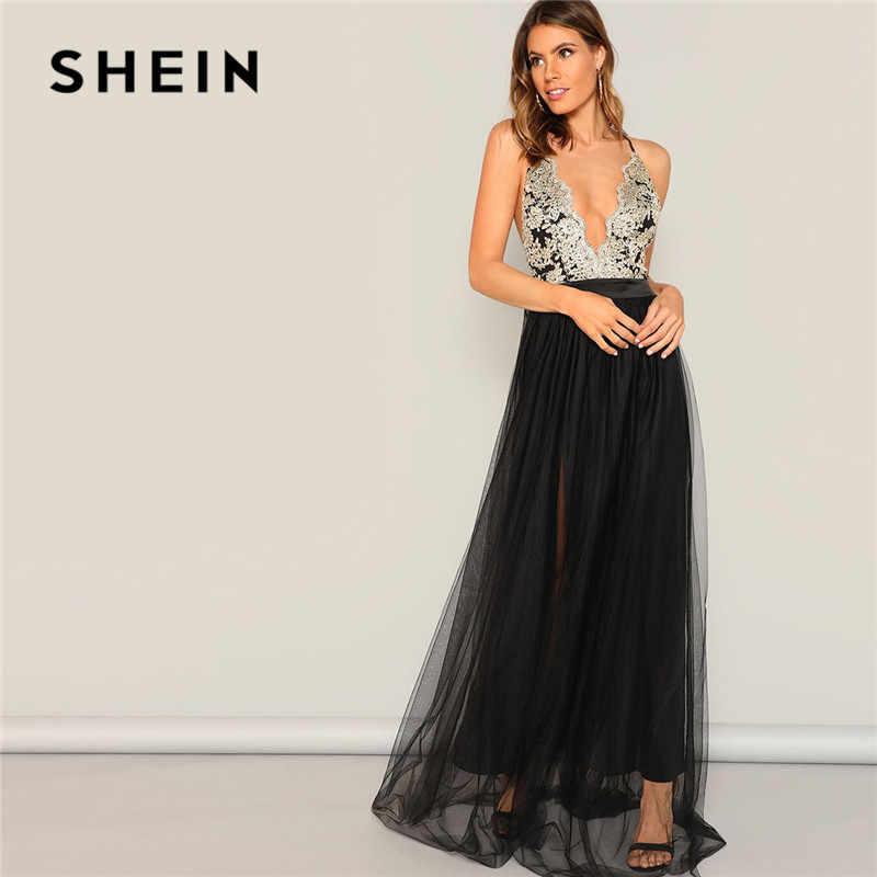 Shein sexy crisscross voltar mista mídia profunda v pescoço flowy maxi vestido de verão senhora sem mangas halter bordado uma linha vestido de festa