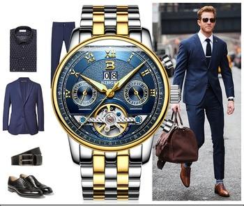 2016 Original Brand BINGER Men Sport Watches Auto Mechanical Clock For Men Fashion Casual Leather Band Waterproof Wristwatch