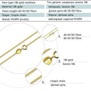 Image 3 - ZHIXI 18K Jóias de Ouro Genuíno Au750 18K Corrente de Ouro Amarelo Longo Real Colar de Pingente de Presente da Festa de Casamento Para mulheres ZXX312