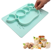 Baby Dishes Silicone Infant Plate Bowls Kids Tableware Food Holder Tray Children Food Container Placemat for Baby Feeding