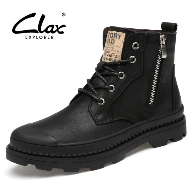 CLAX Men Boots Genuine Leather Autumn Leather Shoe Male High Top Zipper Motorcycle Boot Winter Boot Plush Fur Warm Snow Shoe