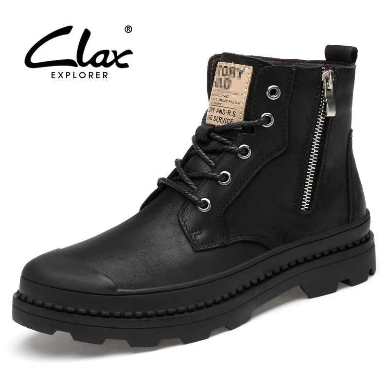 CLAX Männer Stiefel Aus Echtem Leder Herbst Leder Schuh Männlichen High Top Zipper Motorrad Boot Winter Boot Plüsch Fell Warme Schnee schuh