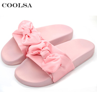 2017 Coolsa Fashion Women Fabric Slippers Cute Bow Silk Slides Flat Rubber Home Slipper Ladies Sandals Casual Lovely Beach Shoes