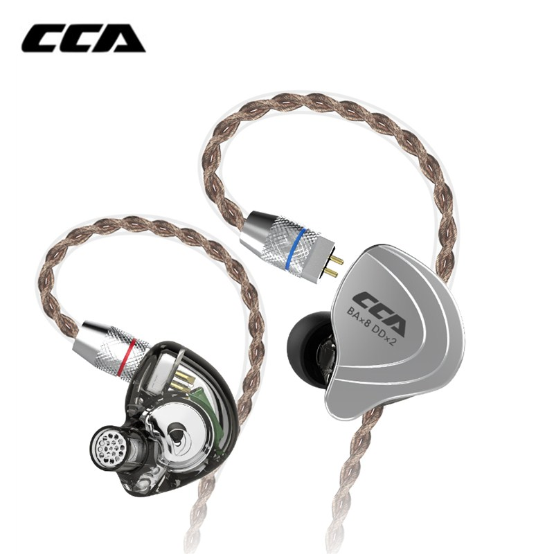 CCA C10 4BA 1DD Hybrid In Ear Earphone Hifi Dj Monito Running Sports Earphone Cable 10 Drive Unit Headset Noise Cancelling
