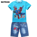 2016 Crianças de Verão Conjuntos de Roupas de Bebê de Algodão Conjuntos de Roupas Dos Meninos Dos Desenhos Animados Spiderman Crianças T-shirt + Shorts 2 Pcs Esporte Ocasional ternos