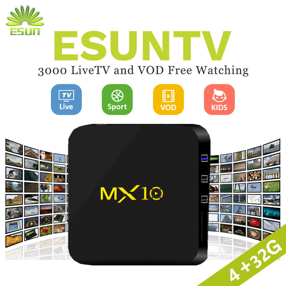 MX10 Smart TV Box Android 8.1 With 1 Year Europe/Arabic/USA/UK/Spain/Portugal/Germany/Canada IPTV 4000+channels set top box недорого