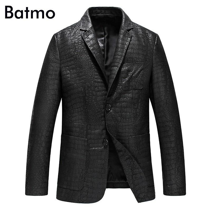 c25b3c80b1773 Batmo 2019 جديد وصول الربيع عالية الجودة الغنم سترات من الجلد الحقيقي الرجال  ، جلد سليم