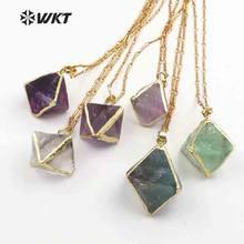 b1920a545cdc WT-N1142 WKT al azar tamaño Natural Arco Iris fluorita Piedra en dados con  forma de oro de cristal de curación Bohe collar mejor.