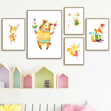 Bear Deer Rabbit Fox Squirrel Nursery Nordic Posters And Prints Wall Art Canvas Painting Pictures Baby Kids Room Home Decor