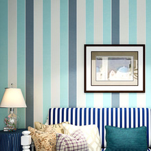 Mediterranean style wallpaper vertical stripes retro blue nostalgic living room non-woven TV background wall Nordic