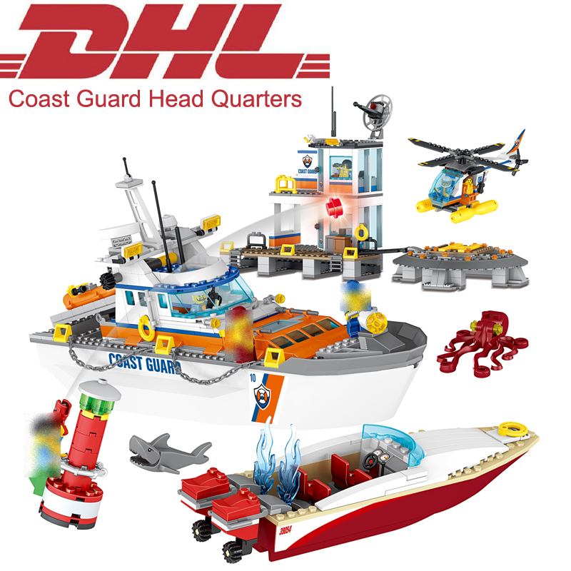 2017 New 834Pcs City Figures Coast Guard Head Quarters Model Building Kits Blocks Bricks Toys For Children Gift Compatible 60167 335pcs 0370 sluban figures aviation city aircraft medical air ambulance model building kits blocks bricks toys for children gift