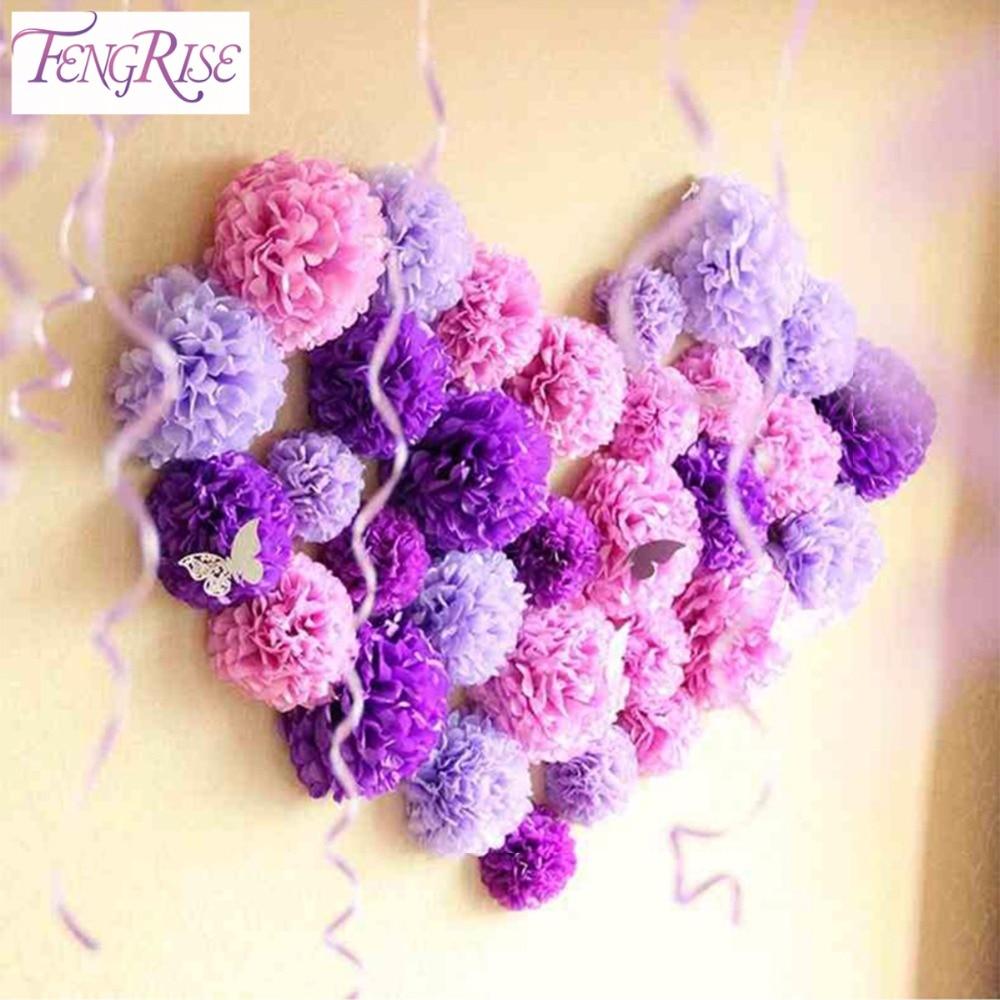 FENGRISE 10 unidades 30 cm Papel de Seda Pom Poms Boda de la Flor Decorativa Bab