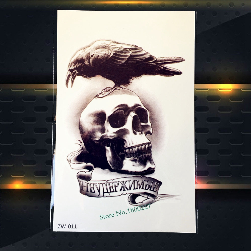 1PC Heathy Waterproof Arm Decal Tattoo Death Skull Bone Crow Design Temporary Tattoo Sleeve Sticker For Men Women Body Art PZW11