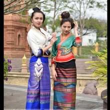 Традиционный костюм Мьянмы приталенный ретро с коротким рукавом