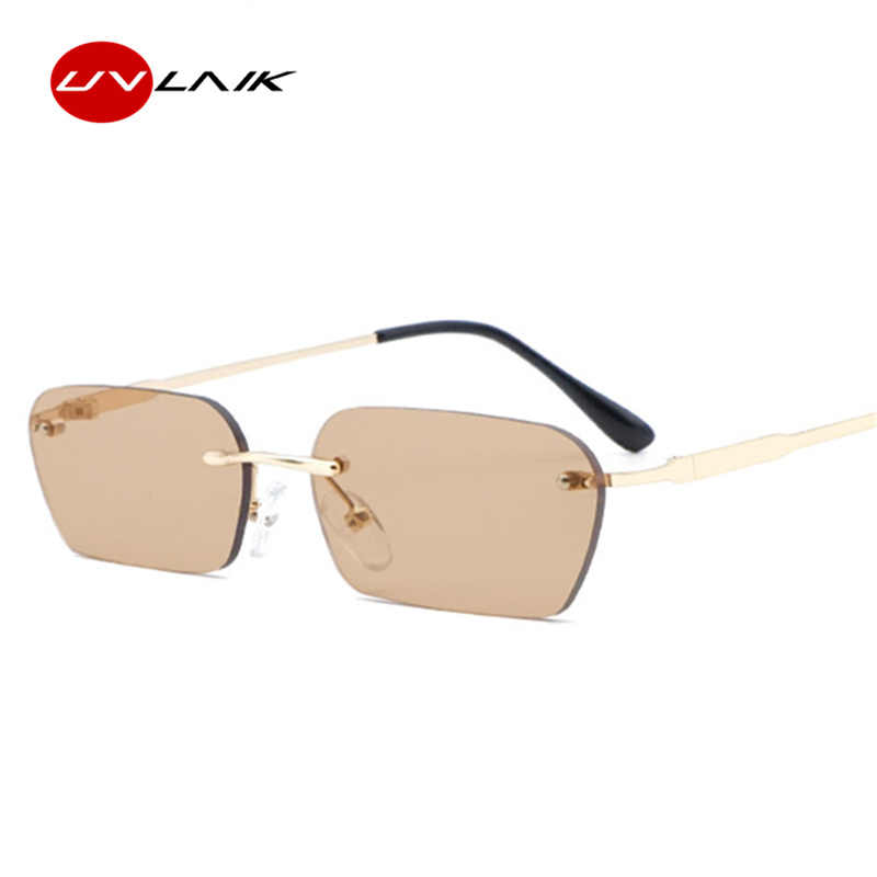 20784c018f Detail Feedback Questions about UVLAIK 2019 vintage rimless sunglasses  women luxury brand cat eye sun glasses men retro small square sunglass  black yellow ...