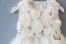 Girls Rose Beige TUTU Dress Sequined Summer Princess Party Sundress 5pcs a Lot for 2-7Y Free Shipping By Epacket